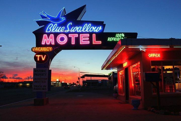 Beautiful sunset in Blue Swallow Motel Tucumcari