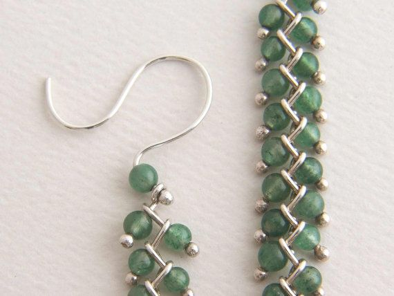 Sterling silver chain earrings with translucent semi precious green aventurine stone beads by Edith Toledano