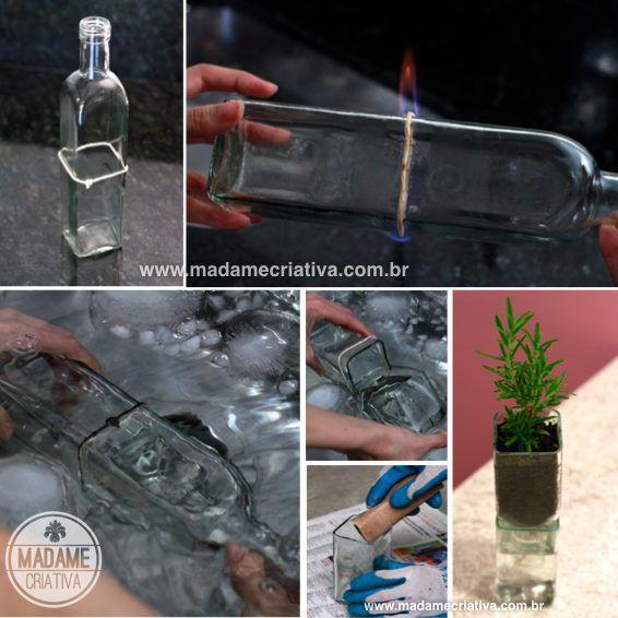 Cortando a garrafa -Como fazer vasos de vidro de garrafa - Passo a passo com fotos - Cutting the bottle - How to make vases using old empty bottles - DIY tutorial  - Madame Criativa - www.madamecriativa.com.br