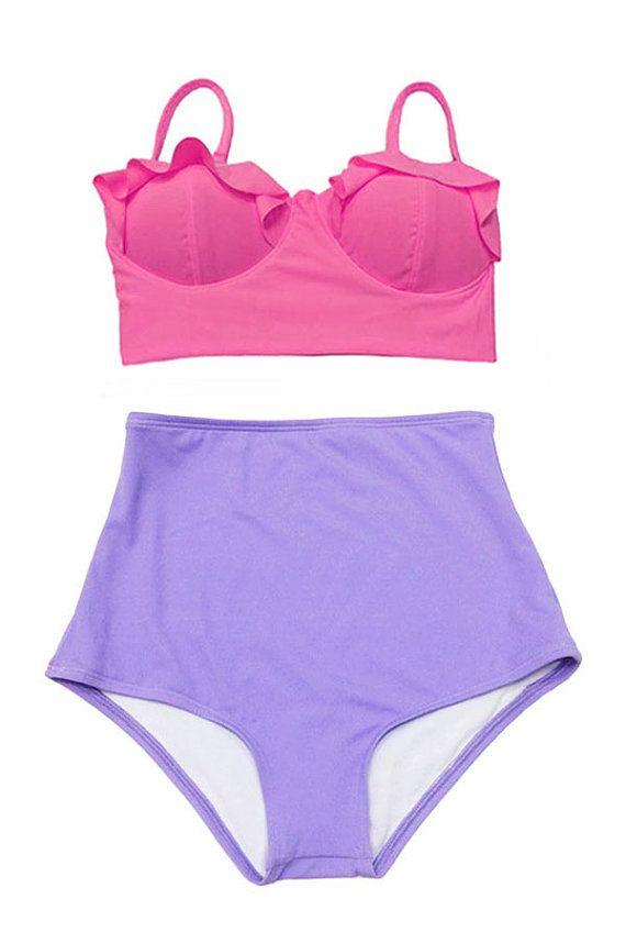 Pink Midkini Top And Black Polka Dot Dots High Waisted