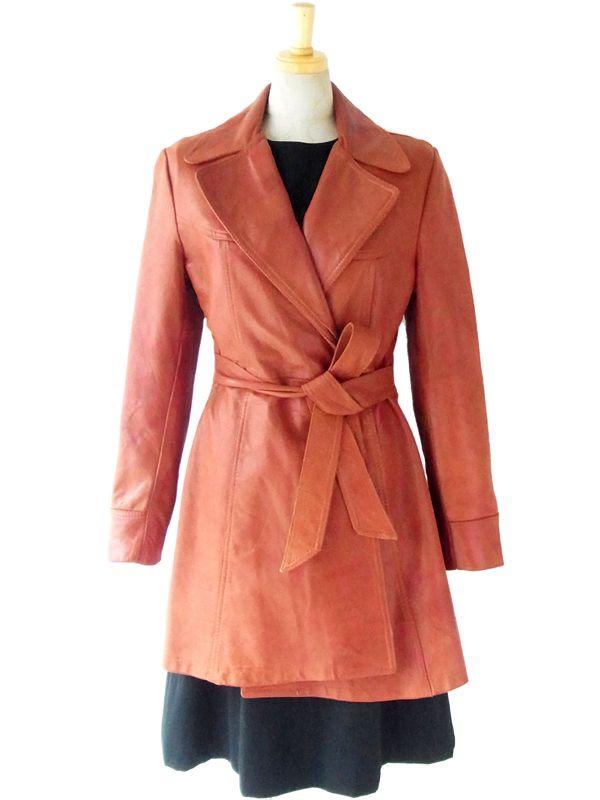 ヨーロッパ古着 ロンドン買い付け 70年代製 ブラウン 美麗シルエット ヴィンテージ レザー ガウンコート 5LA552