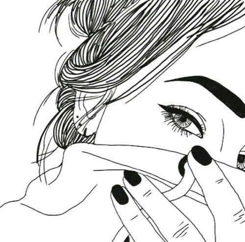 black, draw, eye, girl, grunge, hair, nail, outline, outlines, pretty, white