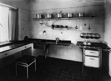 Erna Meyer's kitchen in the house designed by J.J.P. Oud for the Weissenhof Siedlung Exhibition, Stuttgart, 1927.