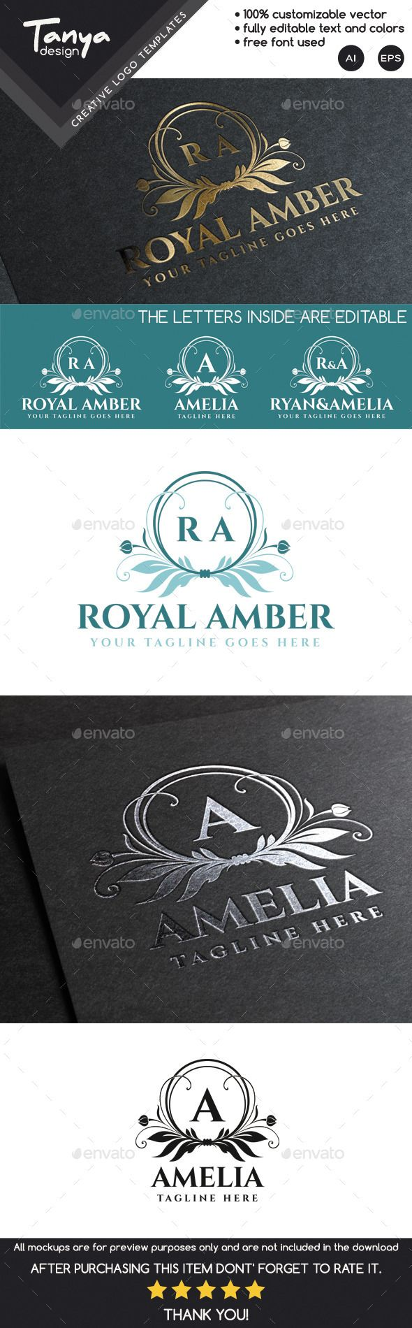 Royal Amber Logo Template — Vector EPS #feminine #spa • Available here → https://graphicriver.net/item/royal-amber-logo-template/9951239?ref=pxcr