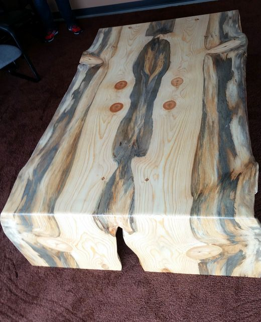Beetle Kill Pine Book Match Slab Coffee Table With Waterfall Edges From Sustainable Lumber