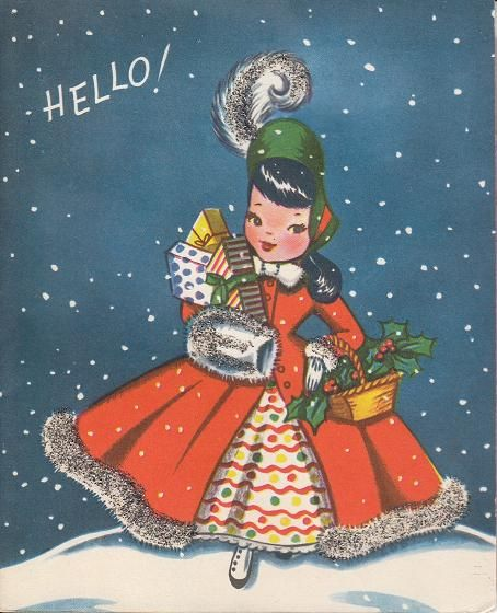 What a marvelously cute - and completely stylish (I want her holiday ensemble!) - 1950s gal on this illustrated Christmas greeting. #card #Christmas #1950s #fifties #retro #dress: Christmas Lady, 1950S Fifty, Christmas 1950S, Vintage Christmas Cards, Cards Christmas, 1950S Christmas, Christmas Greeting, Vintage Cards, Retro Christmas