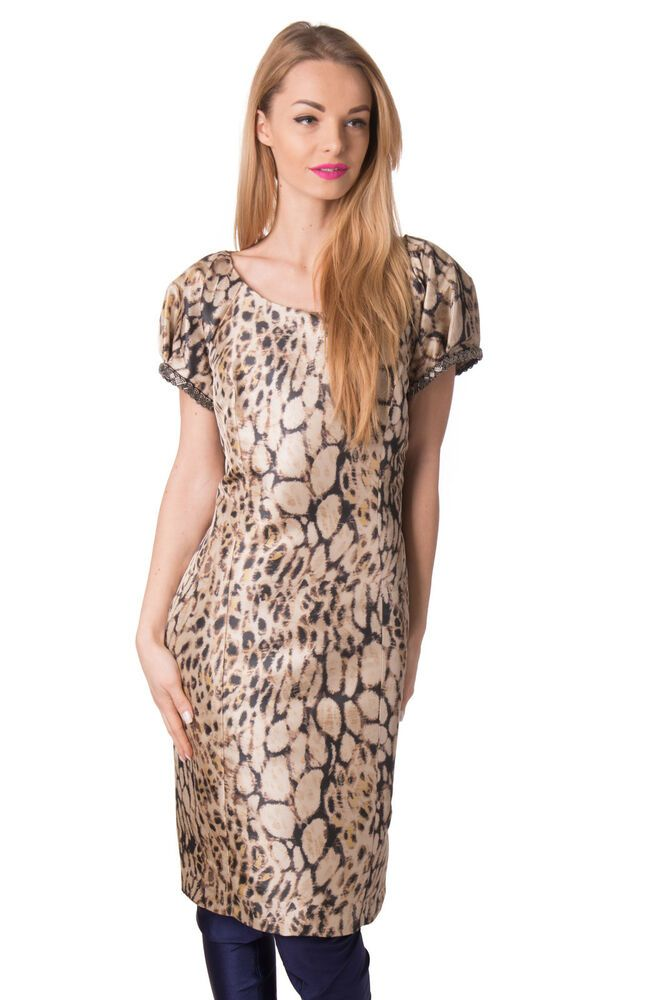 ef98cd4bfe7 CARLA RUIZ Satin Sheath Dress Size 46 XXL Leopard Beaded Puff Cap Sleeve  RRP219  fashion  clothing  shoes  accessories  womensclothing  dresses  (ebay link)