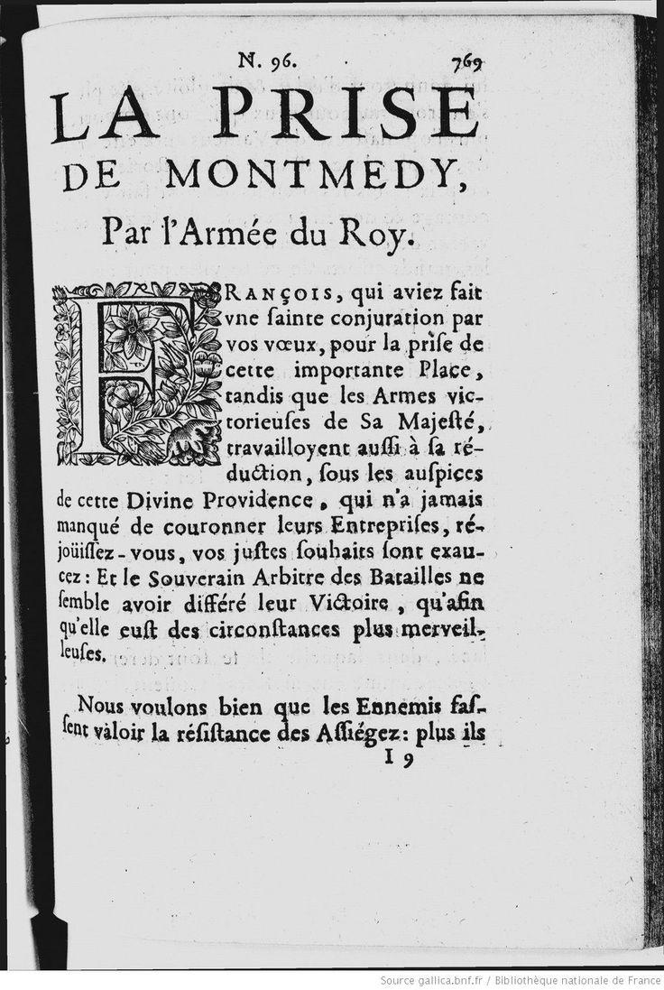"""""""La prise de Montmédy par l'Armée du Roy"""" in """"Recueil des gazettes nouvelles, ordinaires et extraordinaires [...]"""" (1657)"""