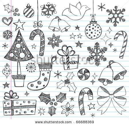 stock vector : Hand-Drawn Christmas Sketchy Notebook Doodles- Vector Illustration Design Elements on Lined Sketchbook Paper Background Más