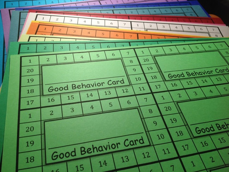 Behavior Punch Cards...think I may try these! (I taught firsties and used punch cards w/the Assertive Discipline program for 28 years and it worked! I implemented more specific discipline plans for the 3-4 students each year who needed one.) Good Luck!