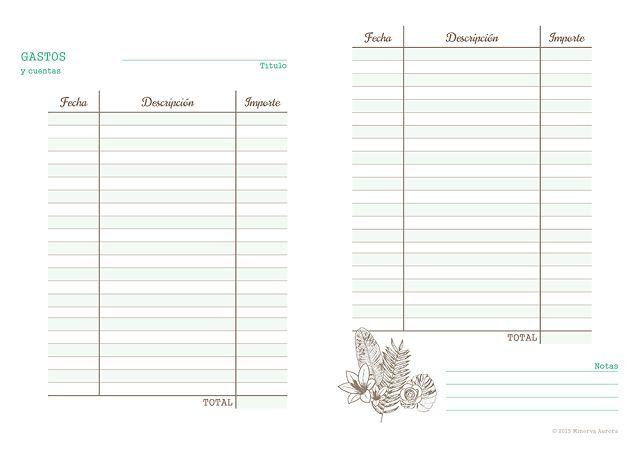 Lista para gastos imprimible, anticipo de mi agenda