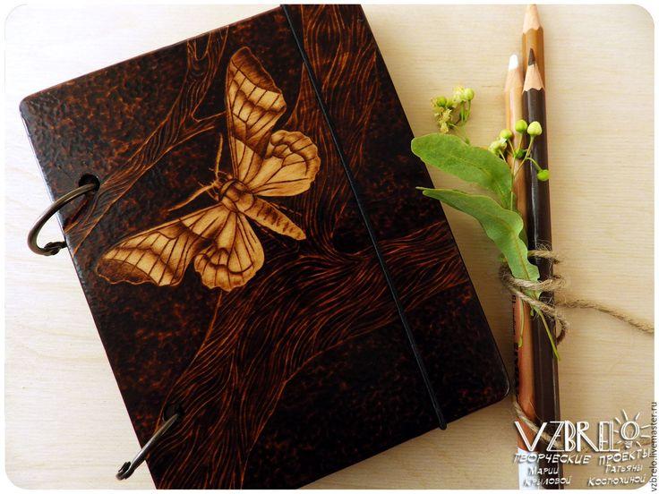 """Купить Деревянный блокнот """"Бражник"""". - vzbrelo, взбрело, деревянный блокнот, блокнот из дерева, деревянный скетчбук"""