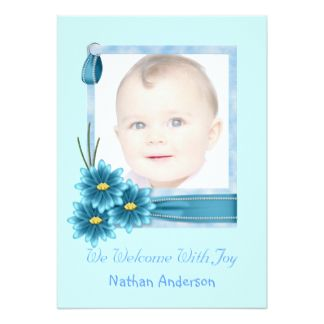 Blue Daisy Baby Boy Photo Birth Announcement