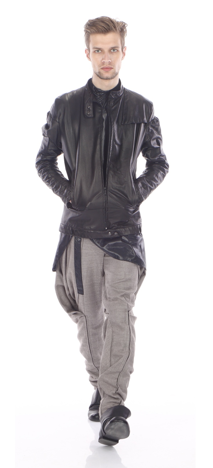 Jacket ( leather), trousers ( silk wool), shoes ( leather)