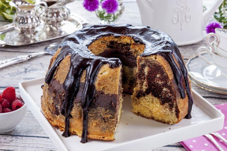Marmorkake med sjokoladeglasur - bakelyst.no