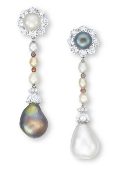 A PAIR OF NATURAL PEARL, SEED PEARL AND DIAMOND EAR PENDANTS via Christie's