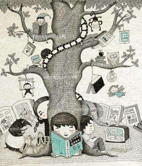 The library is like a tree of knowledge and fun / La biblioteca es como un árbol de conocimiento y diversión (ilustración de Emila Yusof)