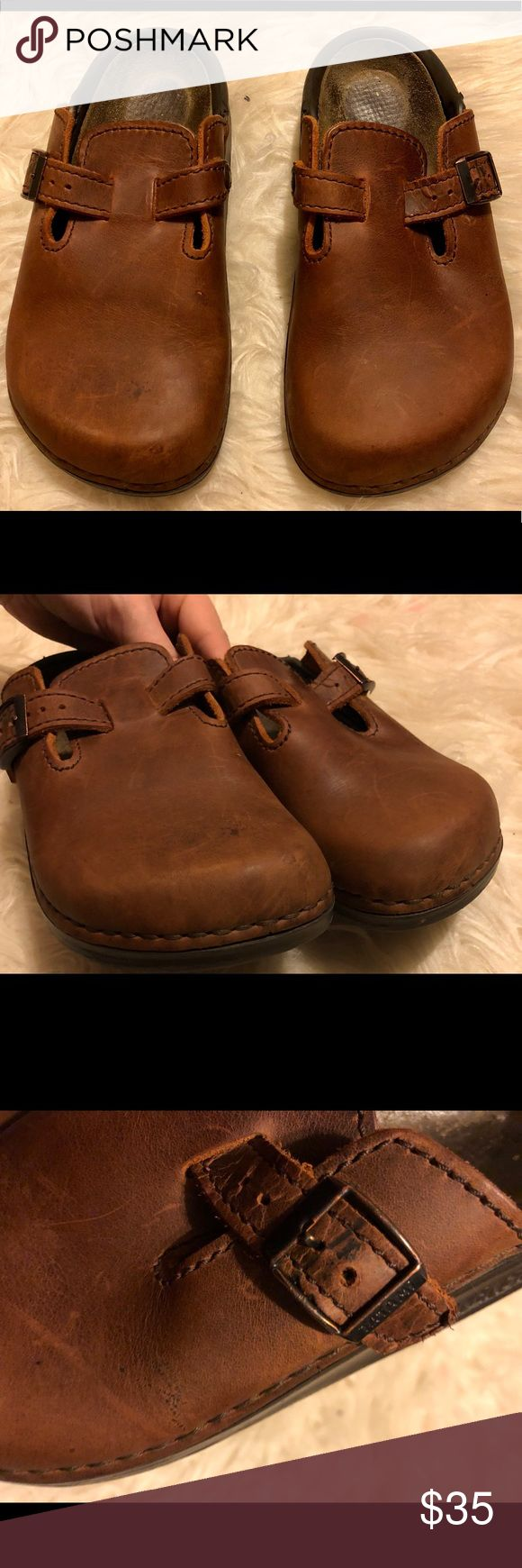 Birkenstock Tatami Brown Leather Mule Clogs Brand: Tatami (Birkenstock) Size: Women's 5 Color: brown  Style: Leather clog Condition: Preowned (some marks on buckle straps and on side of toe area, see photos) Birkenstock Shoes Mules & Clogs