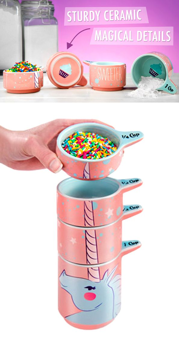 Unicorns are real and they are here, to help you in your lovely baking hobby. Check it out==>   Ceramic Unicorn Measuring Cups   http://gwyl.io/ceramic-unicorn-measuring-cups/