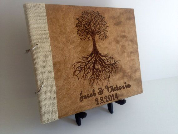 Personalized, Rustic Guest Book Engraved Wood Shabby Chic Wedding Decor, Custom Guest Book