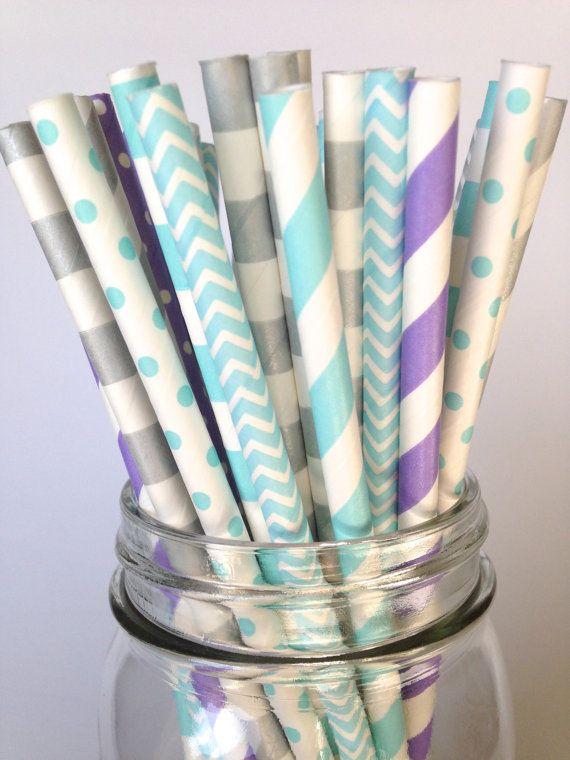 Frozen Birthday Straws, Frozen Party Decor,  Frozen Theme Silver Turquoise & Lavender Multi-Pack Paper Straws, Teal Birthday party