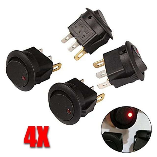 4pcs High Bright Led Button Dot Light 12v 16a Car Auto Boat Round Rocker On Off Toggle Switch Review Bright Led Toggle Switch Rocker