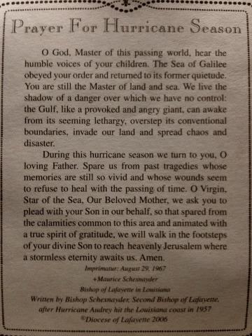 Prayer for hurricane season. So true, especially now at the height of the hurricane season in Louisiana!