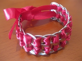 Taking Off At Nine: DIY Pop Tab Bracelet - fun camp craft!. This would be great to do, but I usually donate all my tabs to the Ronald McDonald House