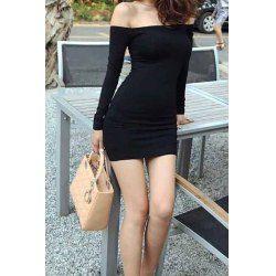Sexy Slash Neck Off-The-Shoulder Bodycon Black Dress For Women