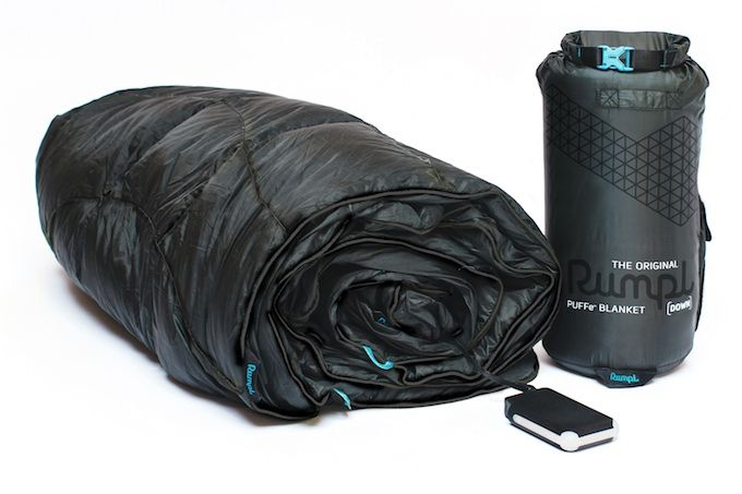 The Rumpl Puffe- is a portable battery-powered heated blanket. It combines three ideas that were all conceived on Kickstarter.