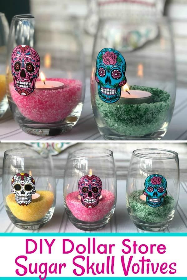 DIY Dollar Store Sugar Skull Votives