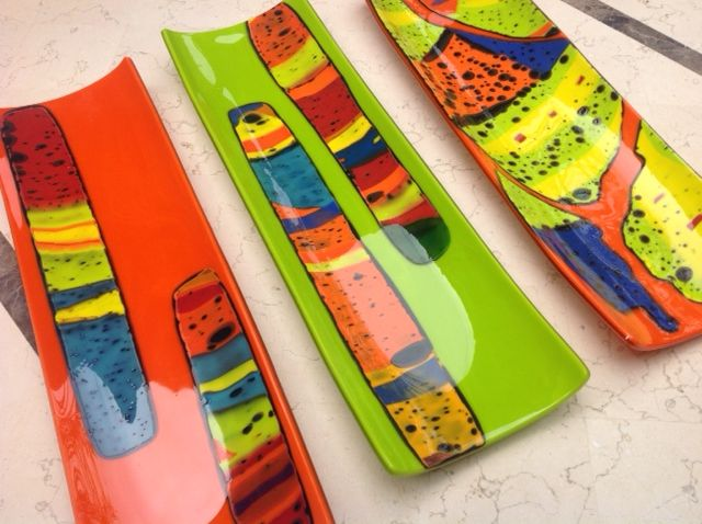 Myra Staffa boiled glass colour platters