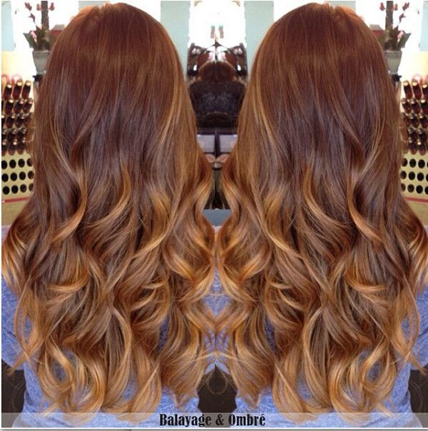 Golden brown ombre & balayage hair with caramel highlight, natural waves, fit any occasion