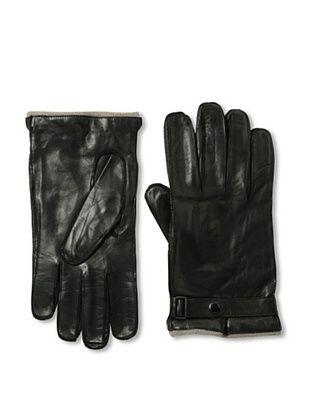 Portolano Men's Strap Nappa Leather Gloves (Black)