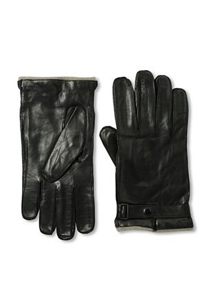 Portolano Men's Strap Nappa Leather Gloves (Black)
