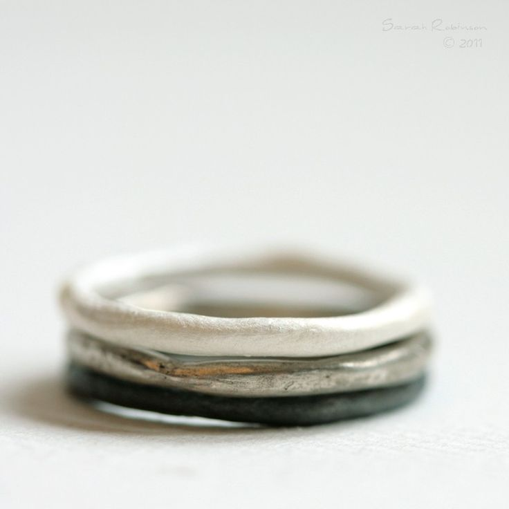 sterling silver + white patina + oxidized black organic stacking rings • la chica