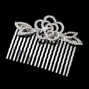 Antique Silver Clear Rhinestone Flower Comb