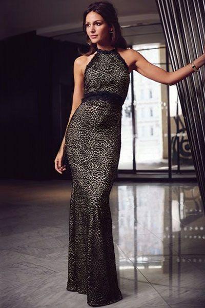Sleeveless Halter Lace Maxi Party Dress