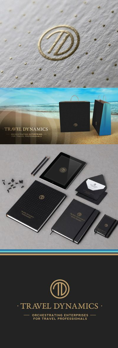 Travel Dynamics Logo and Brand Concept. Gold foil/metallic initial, monogram logo for luxury travel agency branding. Modern and minimalist design for classy travel agents audience.