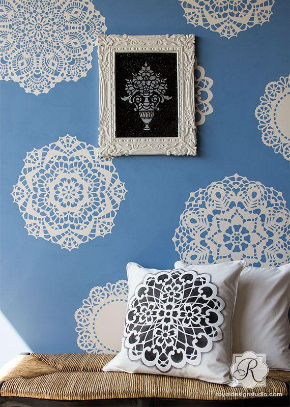 Large Wall Motif Lace Doily Stencil Impressions - Royal Design Studio Stencils