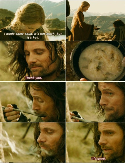 Such a cute scene. Aragorn does not want to hurt Eowyn's feelings even though it really tastes disgusting.