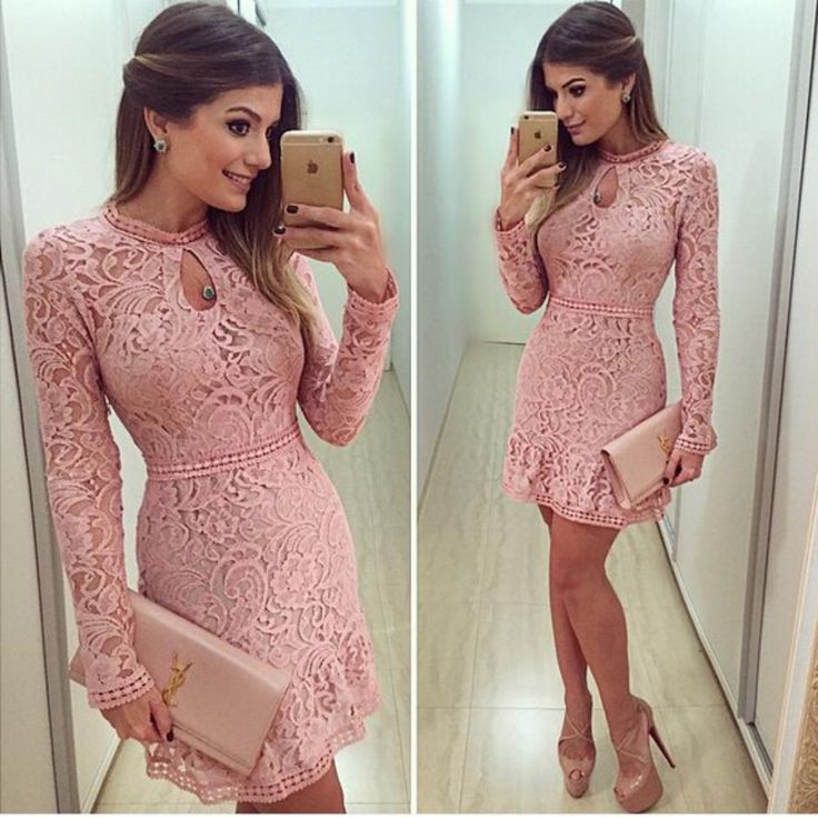 Floral Lace Long Sleeve Mini Dress