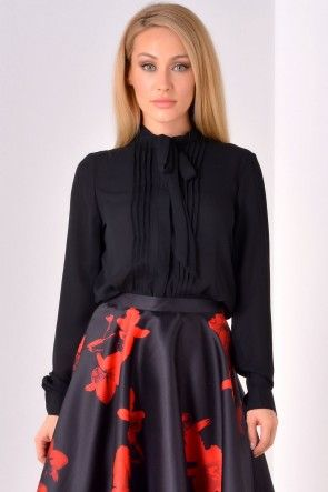 Kate Bow Shirt in Black