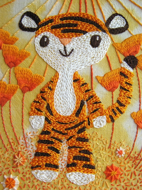 'Little tiger' by Joey Ramone. From Flickr. #tiger #embroidery #orange #white #black #stitching #craft