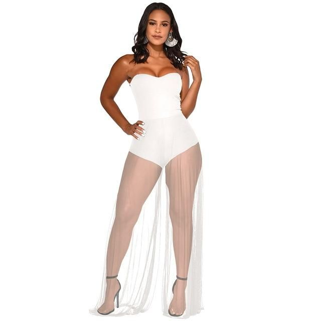 Sheer Mesh Patchwork Sexy Jumpsuit Women Off Shoulder Backless Wide Leg Bodysuit Summer Strapless Sleeveless See Through Romper 1
