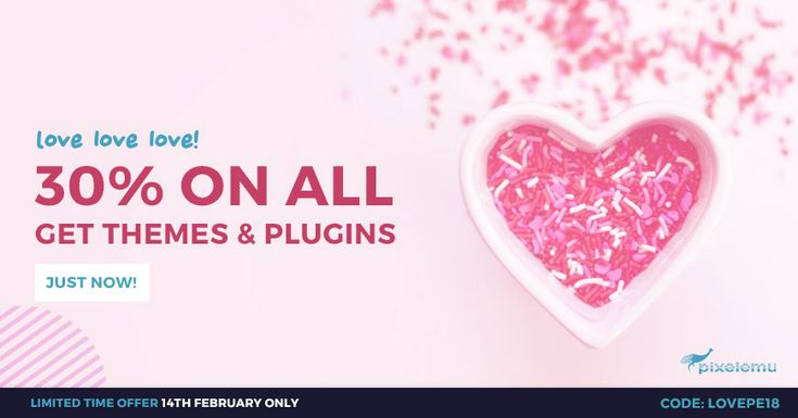 Happy Valentine's Day! Get high-quality WordPress theme 30% OFF! Just use the coupon code: LOVEPE18  It's a flash sale so it ends soon. Hurry up! #ValentinesDay #WordPress #theme #sale #discount #offer #dea