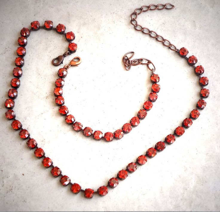 Swarovski  crystal fancy stone 6mm tennis style choker bracelet and earrings three piece set,antique copper plated,hot red magma by CrystallizedByLena on Etsy