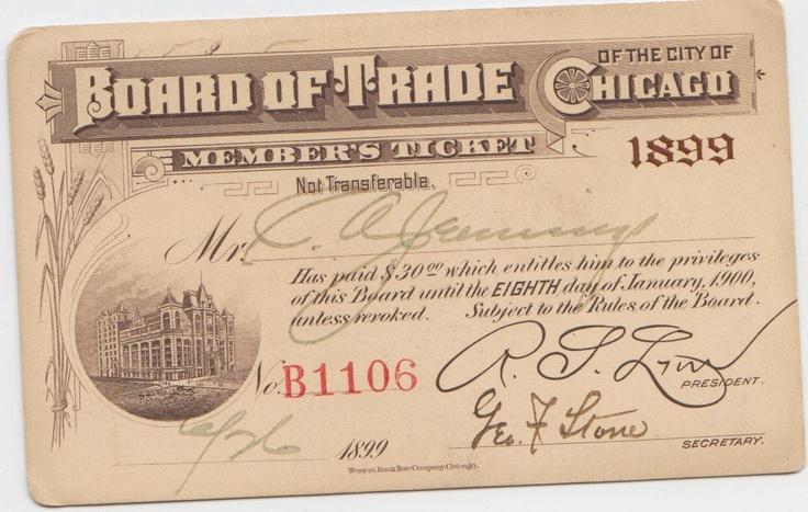 CBOT Members Ticket 1899