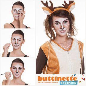 Make-Up Tutorial für ein niedliches Reh bei uns im Blog: http://blog.buttinette-fasching.com/schminktipps/schmink-tipp-reh-make-up/ #Free #Easy #Makeup #Tutorial