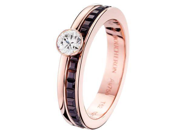 Quatre ClassiqueBague en or rose et or PVD marron serti d'un diamant 0,30 ct.Modèle Solitaire Quatre Classique Edition, Boucheron, 4 700 €.